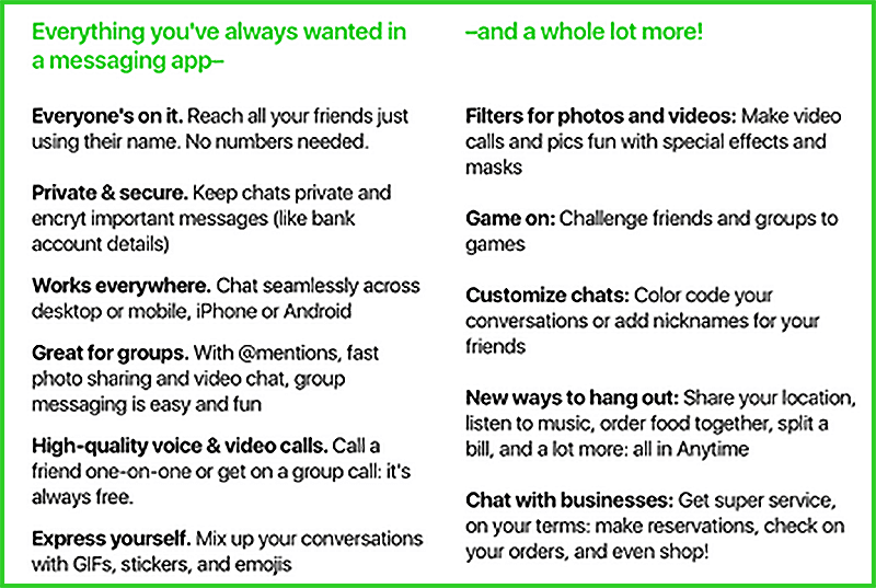 Amazon Anytime Messaging App Feature List