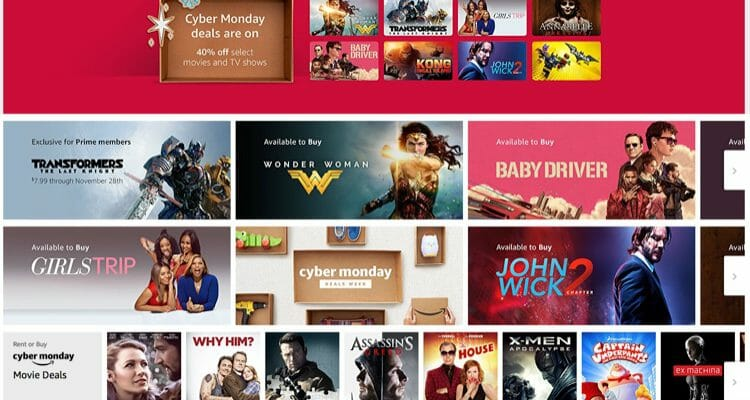 Amazon Cyber Monday Movie Sale