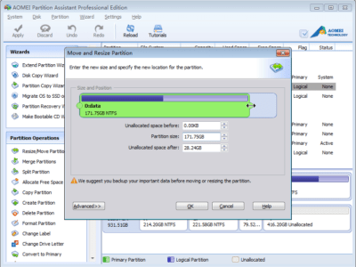 Resize Partition Without Data Loss