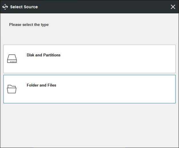 Select a Source For Backup