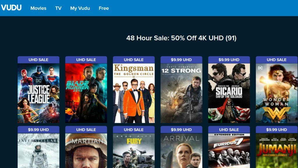 Black Friday Discount on Vudu for 4K Movies