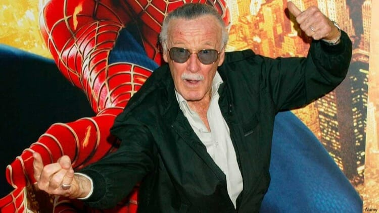 Stan Lee Posing With Spider Man