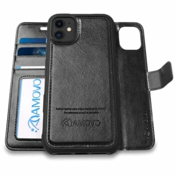 AMOVO Leather Detachable Wallet Case