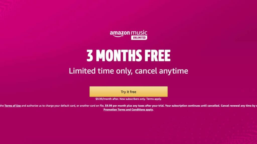 Amazon Music Unlimited 3 Month Free Discount