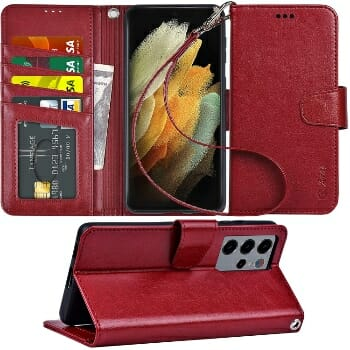 Arae Leather Wallet Case For Samsung Galaxy S21
